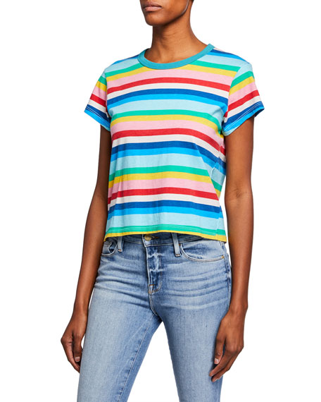 Pam & Gela Shorts RAINBOW-STRIPE SHORT-SLEEVE COTTON TEE