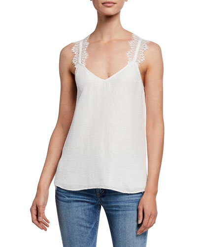 The Chelsea Cloque Cami with Lace