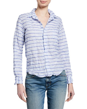 588457fb Frank & Eileen Barry Striped Linen-Cotton Long-Sleeve Button-Down Top