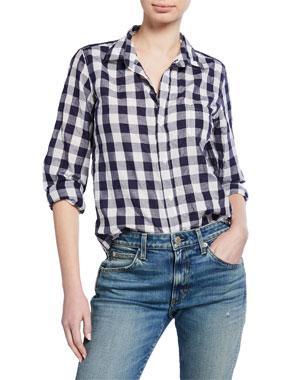 917559149 Frank & Eileen Barry Check Button-Down Linen/Cotton Shirt