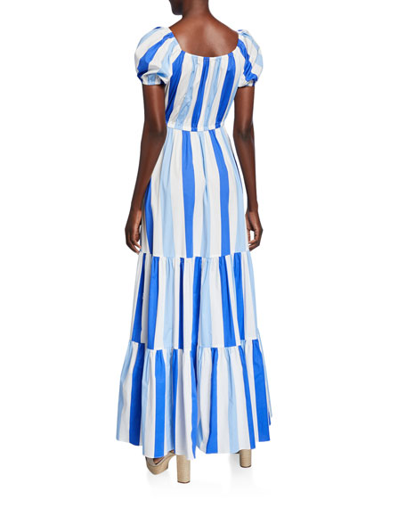Caroline Constas Bardot Printed Scoop-Neck Short-Sleeve Maxi Dress
