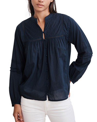 Yadira Pintuck Voile Button-Up Blouse