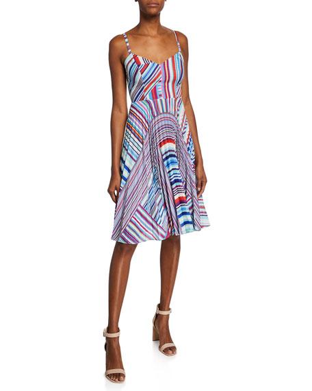 Parker Dresses MAGNA STRIPED SLEEVELESS PLEATED SMOCK-BACK DRESS