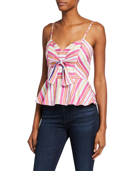 Parker Tops WHITNEY STRIPED TIE-FRONT SLEEVELESS PEPLUM TOP