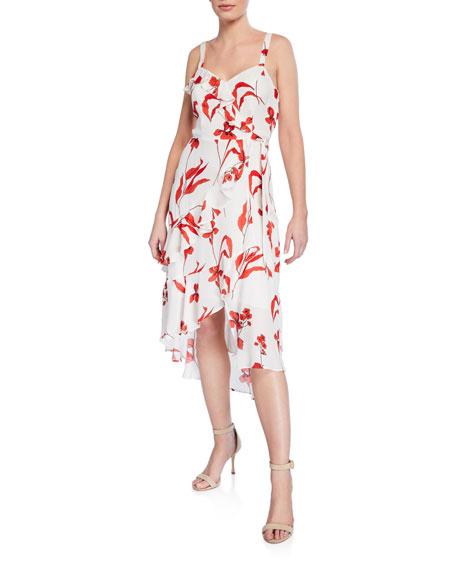 Parker Dresses KATHY RUFFLED SLEEVELESS FLORAL WRAP DRESS