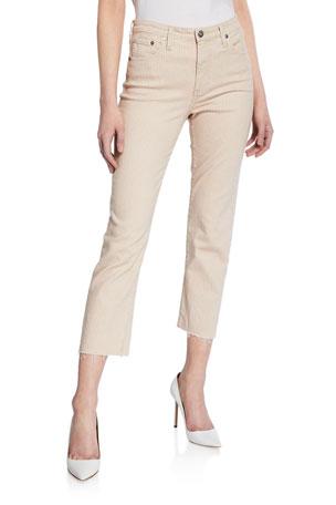 AG Adriano Goldschmied The Jodi Striped High-Rise Slim Crop Pants