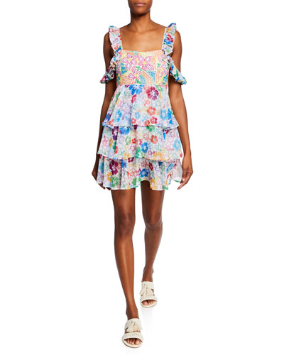 Ilima Embroidered Floral Tiered Cold-Shoulder Dress