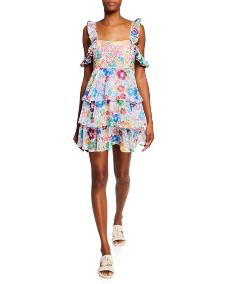 All Things Mochi Dresses ILIMA EMBROIDERED FLORAL TIERED COLD-SHOULDER DRESS