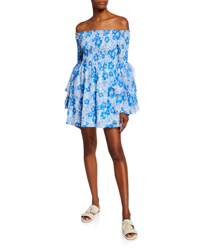Kanoa Floral-Print Off-the-Shoulder Ruffle-Sleeve Smocked Dress