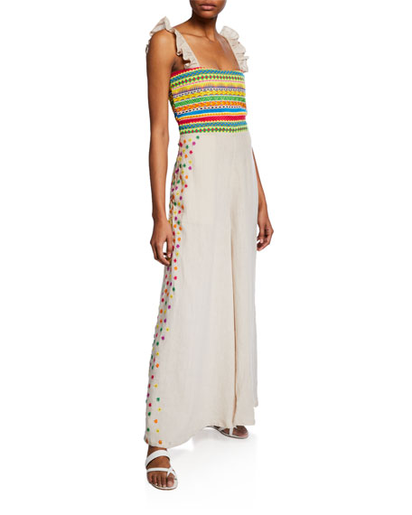 All Things Mochi Suits ELENA EMBROIDERED LINEN WIDE-LEG JUMPSUIT