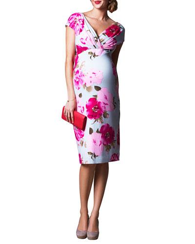 Maternity Floral-Print Cap-Sleeve Shift Dress