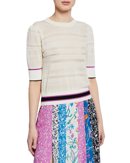 Tanya Taylor Sweaters LETICIA BANDED STRIPED SWEATER