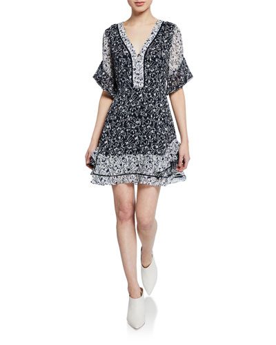 Kayla Contrast Silk Floral Ruffle Mini Dress