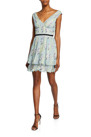 Self-Portrait Floral-Print Chiffon Pleated Ruffle Dress
