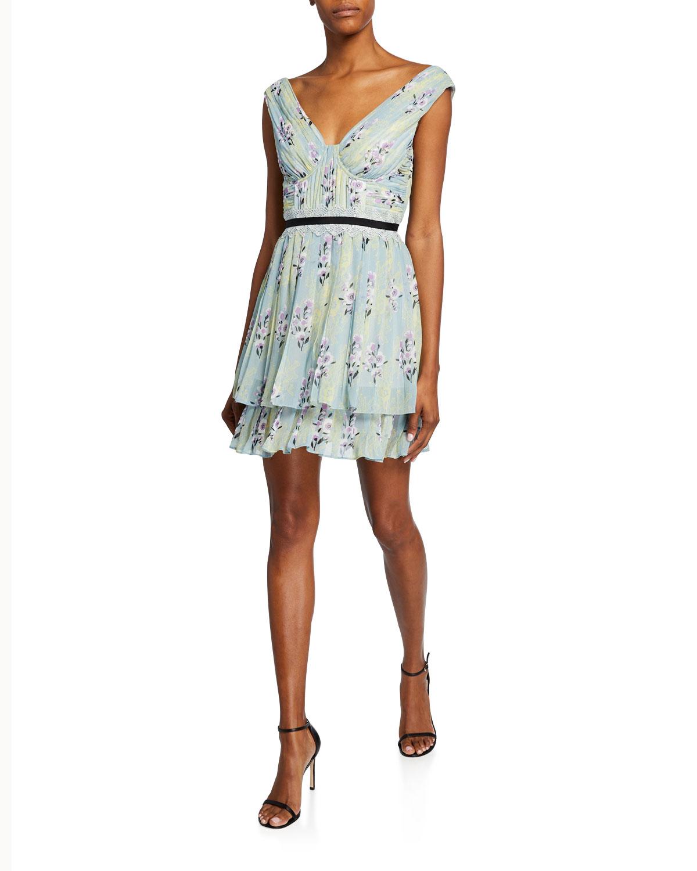 c3c2837054ba Self-Portrait Floral-Print Chiffon Pleated Ruffle Dress | Neiman Marcus