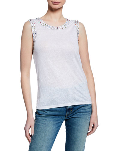 Lucy Sleeveless Top with Crystals