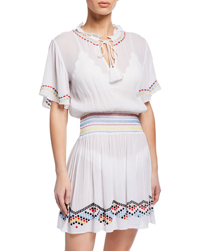 Embroidered Dot Coverup Dress