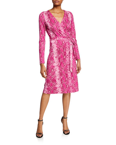 Julian Long-Sleeve Python-Print Wrap Dress
