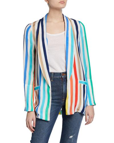 Kylie Striped Easy Shawl-Collar Jacket