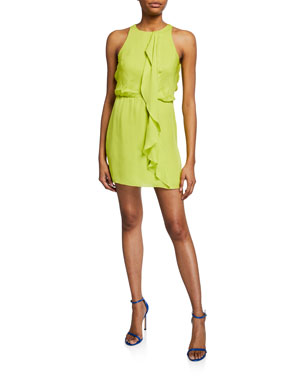 28d59dd33571 Halston Heritage High-Neck Sleeveless Drape-Front Mini Georgette Dress