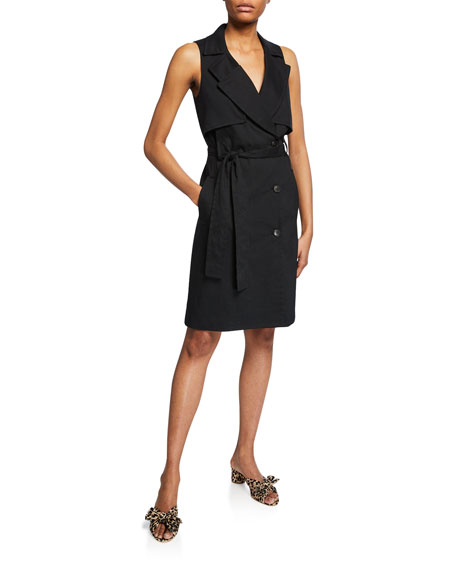 Halston Heritage Dresses SLEEVELESS BUTTON-FRONT STRETCH-LINEN TRENCH DRESS