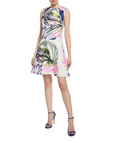 Botanical Palm Jacquard Sleeveless Fit-&-Flare Dress