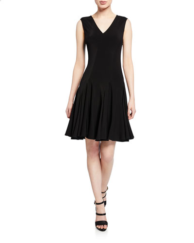 V-Neck Sleeveless Stretch-Viscose Dress w/ Seam Detail
