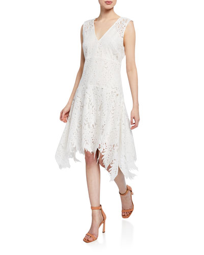 Palm Lace Sleeveless Asymmetric-Hem Dress