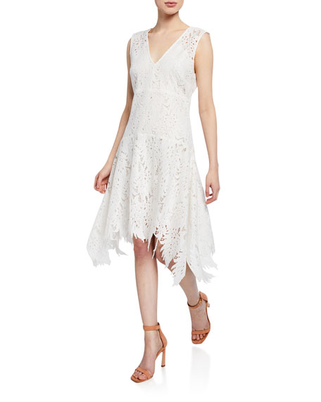 Josie Natori Palm Lace Sleeveless Asymmetric-Hem Dress