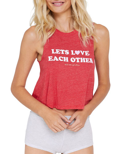 Lets Love Each Other Cropped Slogan Tank Top