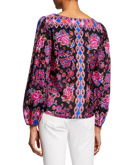 Nanette Lepore Printed Square-Neck Long-Sleeve Peasant Top
