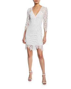 Nanette Lepore Late Night 3 4 Sleeve Mini Lace Dress