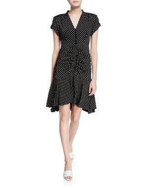 f9313483901f6 Nanette Lepore Liberation Polka-Dot V-Neck Short-Sleeve Dress