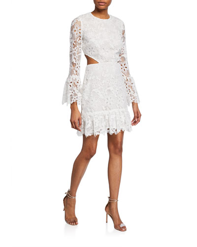 Isabel Floral Lace Long-Sleeve Cocktail Dress