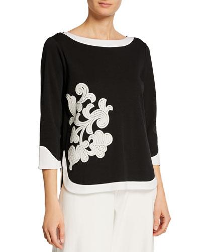 Plus Size Colorblock 3/4 Sleeve Floral Applique Top