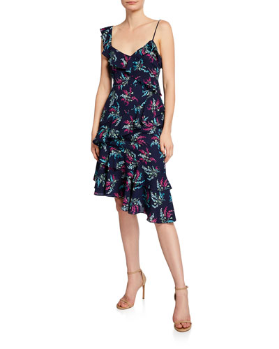 Ophelia Floral Asymmetrical Dress with Ruffles
