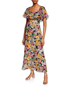 e20098bc9e8f Rachel Pally Plus Size Eden Floral-Print Short-Sleeve Chiffon Ruffle Dress