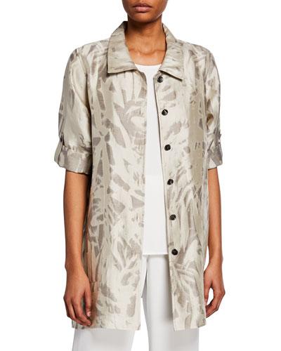 Plus Size Natural Attraction Jacquard Button-Front Long Shirt