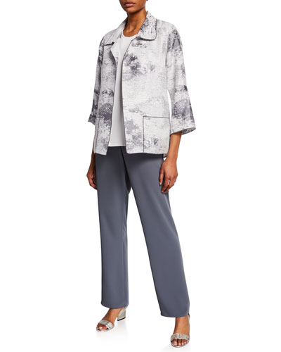 Plus Size On The Glow Jacquard Open-Front 3/4-Sleeve Easy Shirt