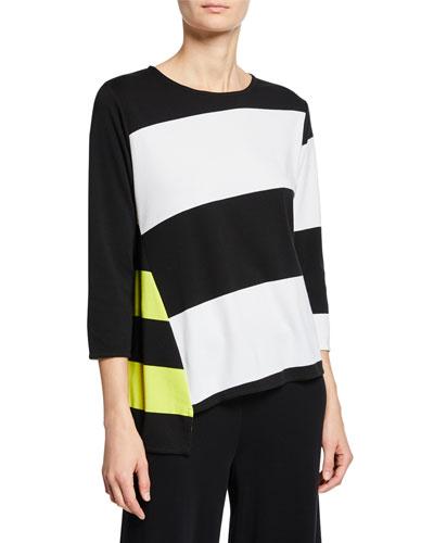 Colorblock Striped 3/4-Sleeve Asymmetric Top