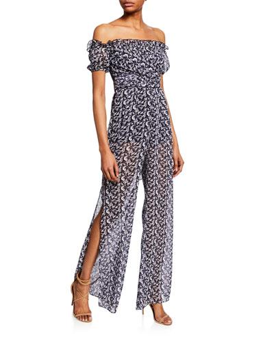 Erica Printed Off-the-Shoulder Short-Sleeve Side-Slit Jumpsuit