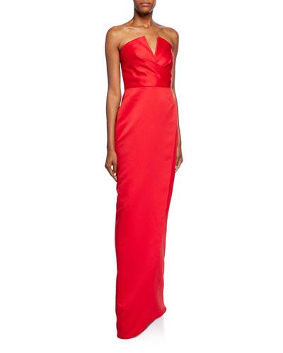 Darcy Strapless V-Neck Gown w/ Slit