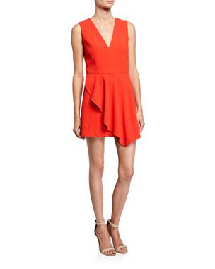 79203c2db Alice + Olivia Callie V-Neck Sleeveless Asymmetric Drape Short Dress