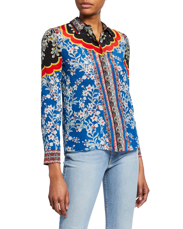 b4c9463a670417 Alice + Olivia Willa Floral-Print Button-Down Long-Sleeve Silk Shirt ...