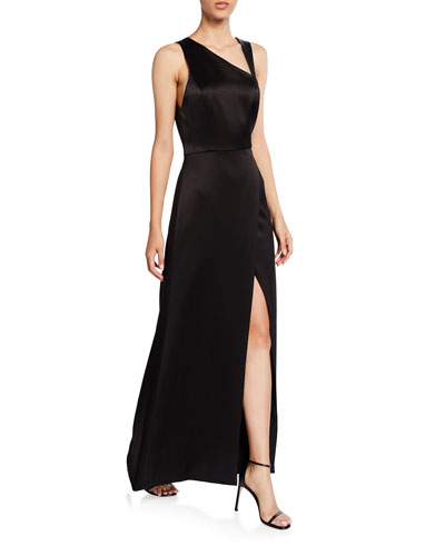Pamela Leather Combo High-Slit Gown