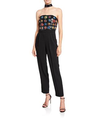f7bf9fa0fd5 Alice + Olivia Jeri Embellished Choker-Neck Bustier Jumpsuit