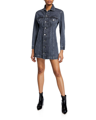 Femme Button-Front Long-Sleeve Mini Denim Dress