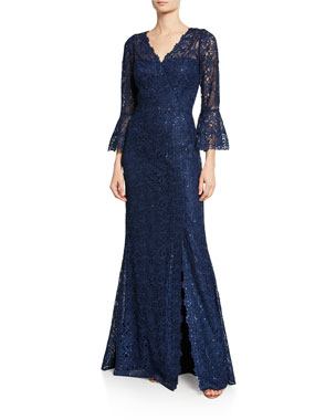 Rickie Freeman for Teri Jon V-Neck Trumpet-Sleeve Embellished Lace Gown w  6ccddfb58