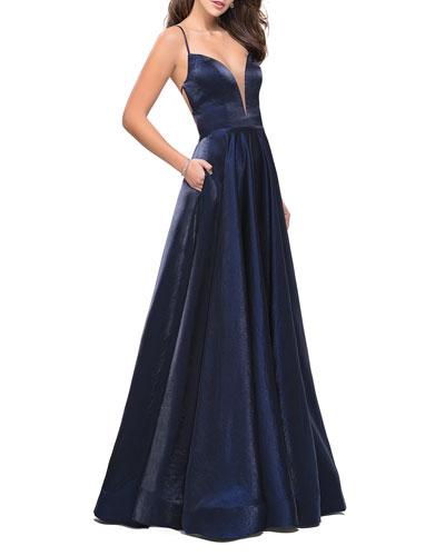 V-Neck Strappy-Back A-Line Satin Gown