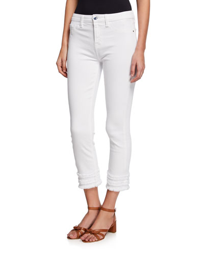 Cropped Straight-Leg Jeans with Fringe